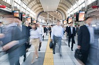 Commuters at a Tokyo rail way station, Japan