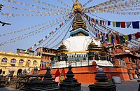 Stupa and prayer flags, Kathe simbhu, Kathmandu, Nepal