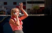 Pretty girl has ah_ha moment talking on cell phone