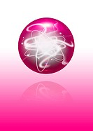 abstract pink sphere with energy beam