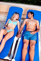 Pool Lounge Chair Couple