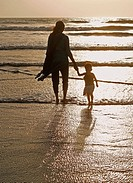 Baby at seashore with her Mother