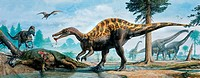 Dinosaurs, including Baryonyx centre, Neovenator left and Iguanadon dead, that lived during the Cretaceous period.