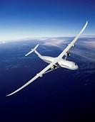 Volt future aircraft. Computer artwork of the Volt twin_engine Subsonic Ultra Green Aircraft Research SUGAR concept aircraft. This passenger aircraft ...