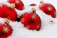 arrangement of christmas tree baubles on snow - shop window advertising