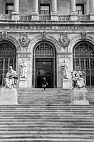 main entrance of Biblioteca Nacional, national library, Madrid, Spain, Europe