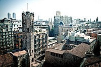 View of Plaza del Rei in Gothic quarter, Barcelona, Catalonia, Spain