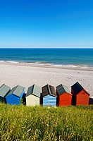 Beach huts overlooking the English Channel at Budleigh Salterton, Devon, England, United Kingdom