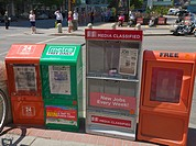 Free newspaper vending machines, Calgary, Alberta, Canada
