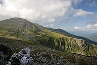 Mount Washington from Davis Path in the White Mountains, New Hampshire USA during the summer months  Tuckerman Ravine is on the right