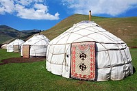 Yurts, Tash Rabat Valley, Kyrgyzstan