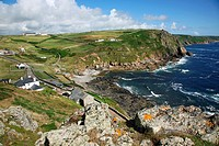 The Sea and headland at Cape Cornwall, Near to Lands End, Cornwall, South West England, UK