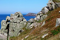 Cape Cornwall from the long distance South West Coast footpath at Gribba Point, Cornwall, England, UK