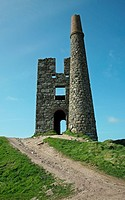 The chimney of the engine pump house at Ding Dong Tin Mine Cornwall