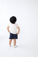 Japanese girl is standing turns back.