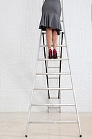 Young businesswoman up a ladder