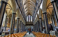 Interior of Salisbury Cathedral, Salisbury, Wiltshire, England