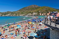 People at beach, Levanto, Comunita Montana della Riviera Spezzina, Province of La Spezia, Cinque Terre National Park, Liguria, Italy