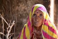 Mature woman in her home - Shyampura Village, Rajasthan, India