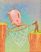 A businessman catching a piggy bank with a net