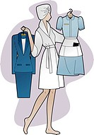 A woman holding a business suit and a maid's outfit