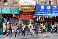 California, San Francisco, Chinatown, Grant Street, kanji, shopping, street scene, busy sidewalk, Asian, man, woman, blue jeans, business, storefront,...