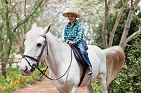 Smiling boy riding horse in park