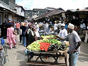 Rwanda, Ruhnegeri. Vendors sell their fresh produce at the local market
