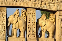 Detail of the Northern Gate, Sanchi, Madhya Pradesh, India