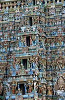 Gopuram detail of the Sri Meenakshi Temple, Madurai, Tamil Nadu, India