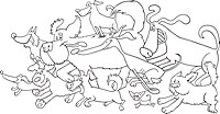 running dogs for coloring book