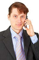 Man in business suit talking on phone