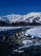 Mount Goryudake, Mount Karamatsudake and Matsu River, Hakuba, Nagano, Japan