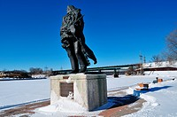 Native American Statue in Winter