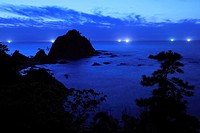 Night View of Uradome Beach, Iwami, Tottori, Japan