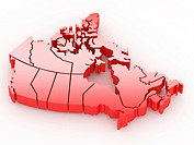 Three_dimensional map of Canada on white isolated background. 3d
