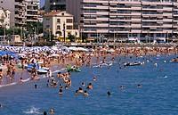 France, St. Raphael. Mediterranean beach scene.