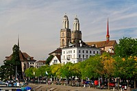 The major landmarks of Zurich cityscape