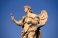 Angel sculpture on the Ponte Sant´Angelo or Bridge of Hadrian, Rome, Italy