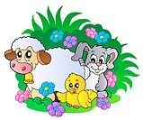Group of spring animals _ color illustration.