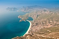 Aerial view of Oludeniz and Kaya village, Turkey