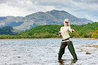 fishing woman, Loch Venachar, Trossachs, Scotland