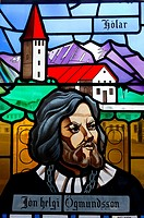 Stained glass window at the Akureyrarkirkja church, Akureyri, Iceland
