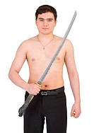 Guy with katana in hand on white background