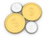 Golden dollar and cent gears on white background. High resolution 3D image rendered with soft shadows