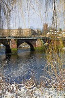 The Old Dee Bridge in snow, River Dee, Chester, England