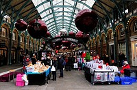The Apple Market in Covent Garden with Christmas Decorations, London, England, UK