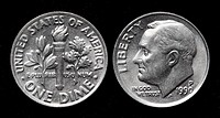 1 Dime coin, USA, 1990