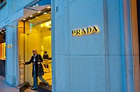 Paris, France, Luxury Shopping, Prada Shop, Front Entrance, Avenue Montaigne