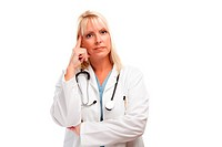 Serious Female Blonde Doctor or Nurse Isolated on a White Background.